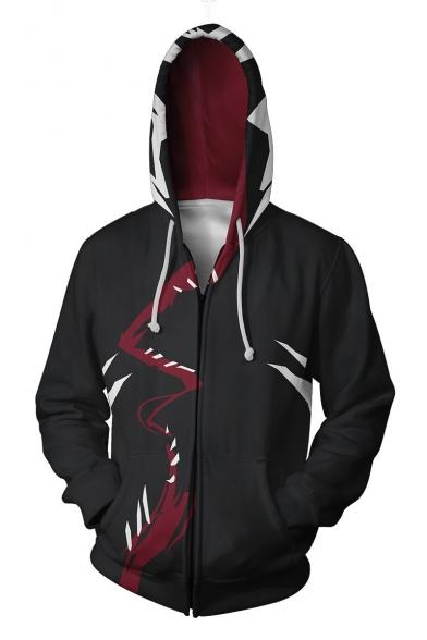 Cool 3D Print Long Sleeve Cosplay Costume Black Zip Up Hoodie