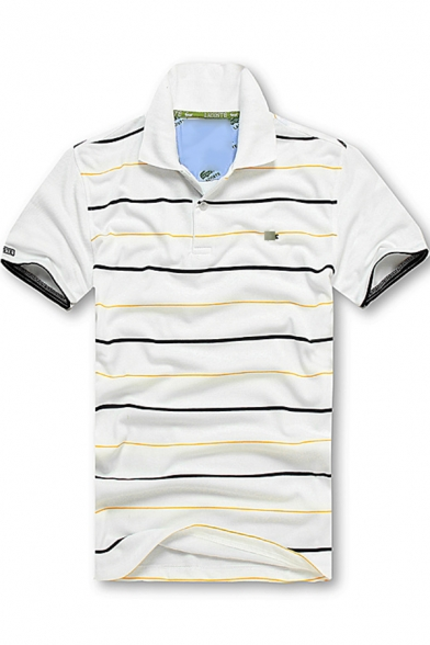 Basic Simple Striped Printed Short Sleeve Casual Polo Shirt for Men