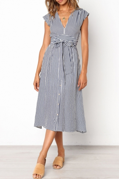 Classic Striped Printed V-Neck Bow-Tied Waist Button Down Midi A-Line Dress