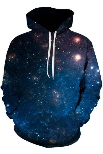 Fancy 3D Galaxy Printed Long Sleeve Casual Pullover Drawstring Hoodie
