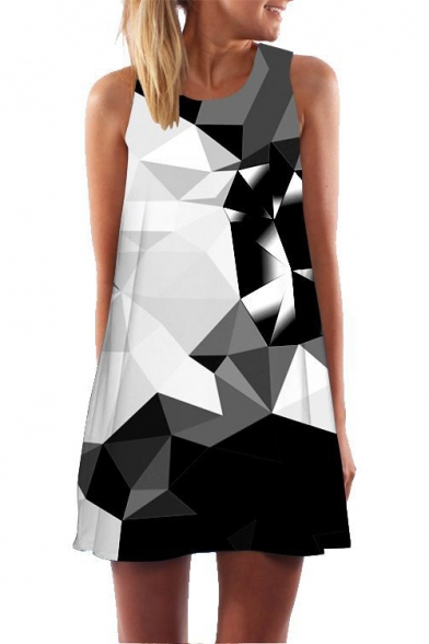Fashion 3D Black Geometric Pattern Round Neck Mini Swing Tank Dress for Women