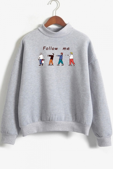 Funny Cartoon Character Letter FOLLOW ME Printed Mock Neck Long Sleeve Pullover Sweatshirt