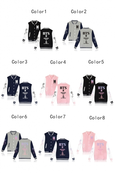 Kpop ARMY Rib Stand-Collar Long Sleeve Colorblock Button Down Baseball Jacket