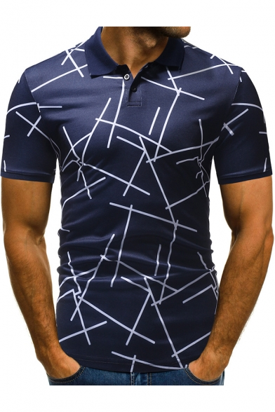 Men Unique Irregular Stripe Short Sleeve Three-Button Stretch Polo Shirt