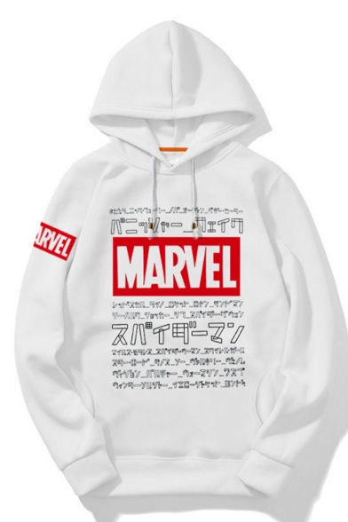 New Popular MARVEL Logo Print Long Sleeve White Loose Leisure Hoodie