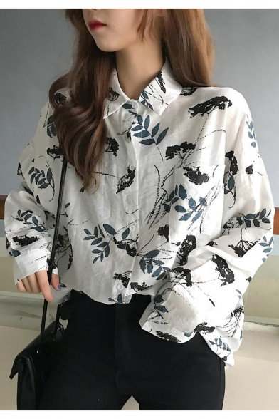 New Trendy Leaf Printed Long Sleeve Women's Loose Fit White Button Shirt