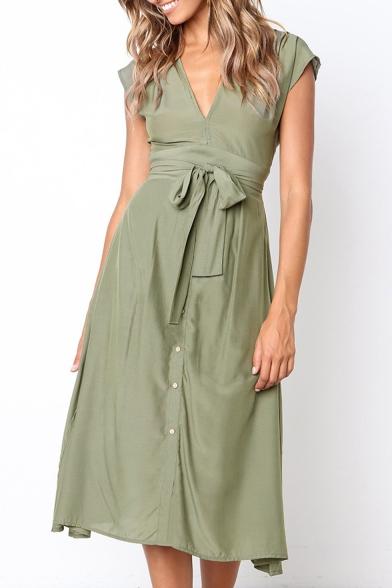 Simple Plain V-Neck Bow-Tied Waist Button Front Midi A-Line Graceful Dress for Women