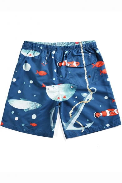 Summer Fashion Tropical Fish Printed Drawstring Waist Quick-Dry Blue Swim Trunks for Men
