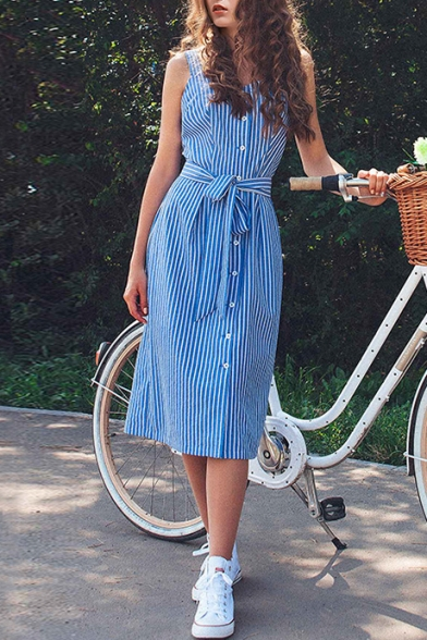 Trendy Striped Printed Sleeveless Button Down Tied Waist Midi Shift Dress for Women