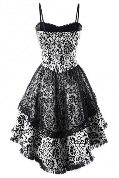 Vintage Gothic Lace-Up Front Lace-Trimmed High Low Hem Midi Flared Cami Dress