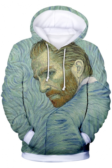 Fashion 3D Dutch Painter Portrait Print Long Sleeve Green Drawstring Hoodie