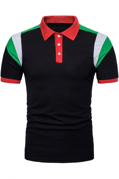 Men's Trendy Colorblocked Short Sleeve Contrast Collar Slim Fit Polo Shirt