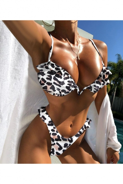 New Stylish Fashion Ruffled Hem Striped Leopard Print Bikini Swimwear