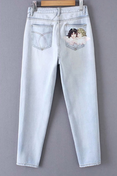 New Stylish Retro High Waist Angel Print Pocket Wased Light Blue Jeans