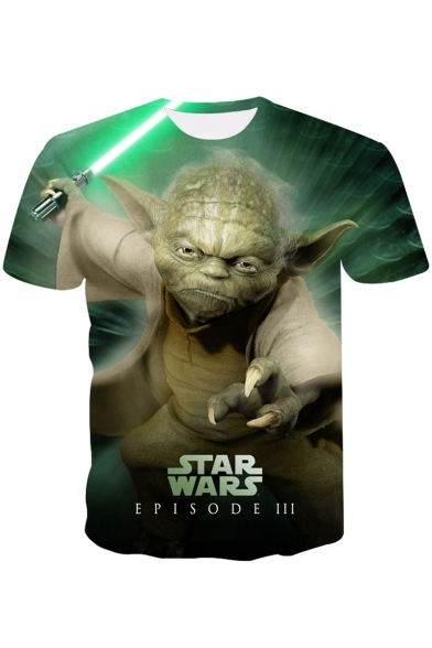 Star Wars Yoda 3D Printing Short Sleeve Round Neck Regular-Fit Green T-Shirt
