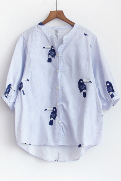 Summer Bird Print Lantern Half Sleeve Casual Button Down Striped Shirt