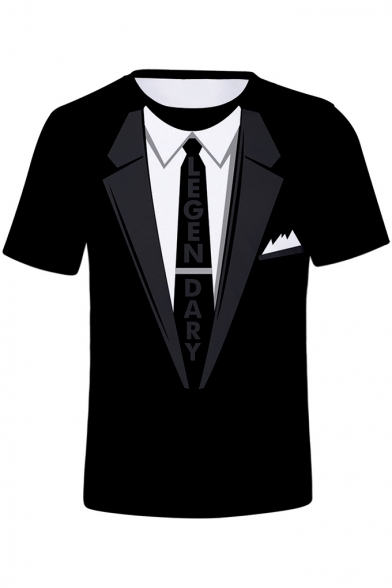 Summer Cool 3D Like A Level 99 Boss Letter LEGENDARY Tie Blazer Print Short Sleeve Black T-Shirt
