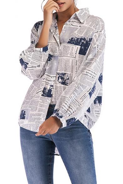 Vintage Newspaper Printed Long Sleeve High Low Hem Button Down Shirt