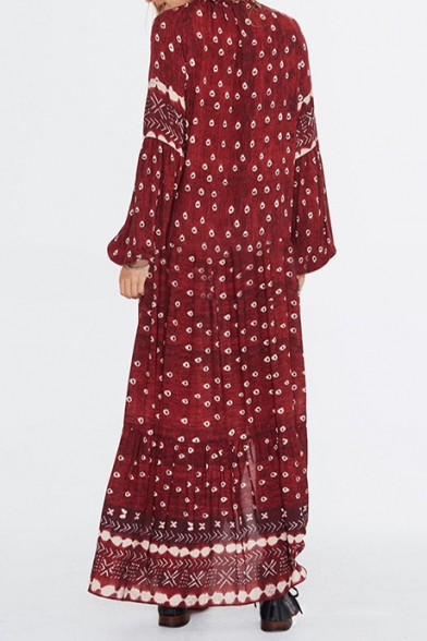 Women's Fashion Ethnic Floral Printed V-Neck Long Sleeve Sexy Split Front Burgundy Maxi Beach Dress