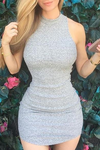 Women's Mock Neck Sleeveless Simple Plain Mini Knit Grey Bodycon Dress