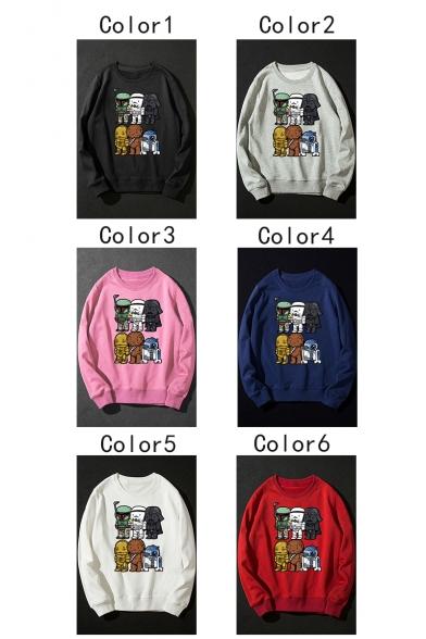 Funny Cartoon Star Wars Character Printed Round Neck Long Sleeve Pullover Sweatshirt