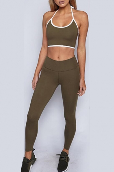 Halter Neck Cropped Cami Top Skinny Fit Pants Sport Casual Co-ords for Women