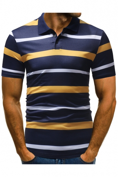 Men's New Trendy Striped Printed Three-Button Classic-Fit Casual Polo