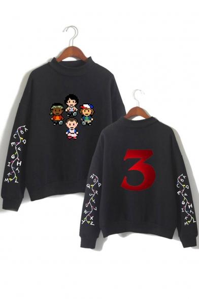 Popular Cartoon Stranger Things 3 Print Long Sleeve Mock Neck Pullover Sweatshirt