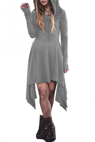 Simple Plain Fashion Long Sleeve Asymmetrical Hem A-Line Hoodie Dress