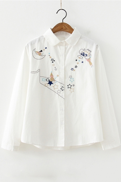 Students Cartoon Star Embroidered Cotton Loose Striped Button Shirt