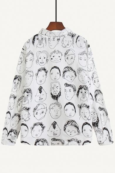 Vintage Face Portrait Print Long Sleeve Loose Casual Linen Shirt
