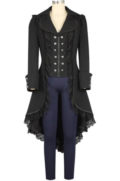Women's Black Tuxedo Gothic Tailcoat Jacket Steampunk VTG Victorian Coat Wedding Uniform