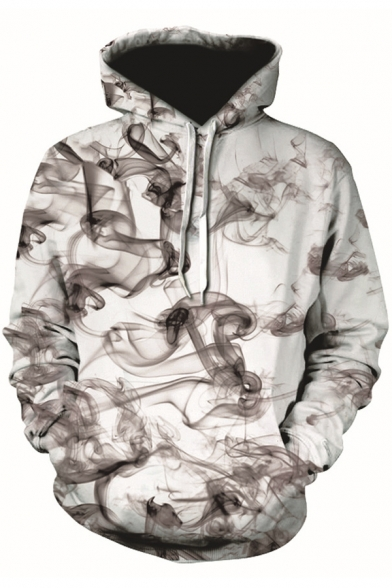 Awesome 3D Smog Pattern Casual Loose Long Sleeve White Drawstring Hoodie