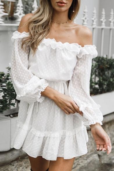 Chic Off The Shoulder Ruffled Hem Polka Dot Print White Mini A-Line Dress