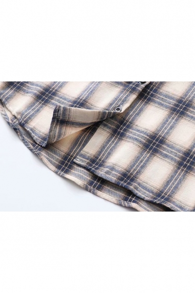 Classic Check Pattern Long Sleeve Button Down Blue Shirt