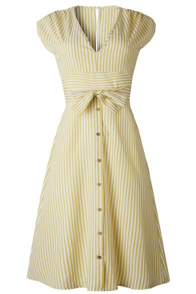 Classic Striped Printed V-Neck Bow-Tied Waist Button Down Midi A-Line Dress