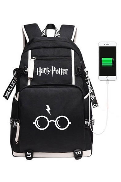 Fashion Harry Potter Eyeglasses Printed Creative USB Charging Black Traveling Backpack 30*14*46cm