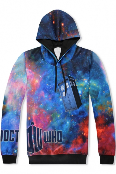 Letter DOCTOR WHO Blue Galaxy Print Long Sleeve Loose Fit Drawstring Hoodie