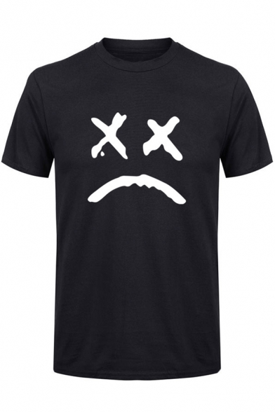 American Rapper Sad Face Pattern Street Fashion Short Sleeve T-Shirt