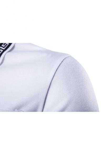 Men's Trendy Rib Collar One Pocket Short Sleeve Summer Slim Fit Polo Shirt