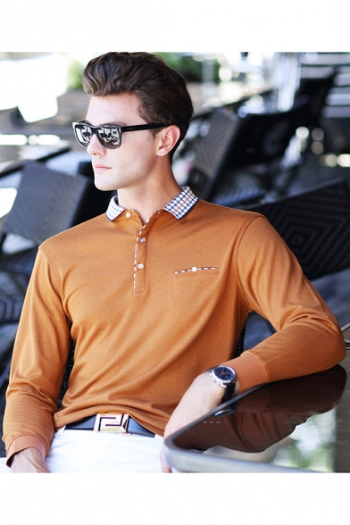7d8030e7 ... New Stylish Plaid Patched Collar Men's Casual Long Sleeve Business Polo  Shirt ...