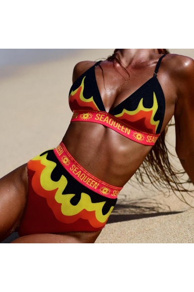 Popular Fire Letter SEAQUEEN Printed Summer Sexy Beach Bikini Swimwear in Orange