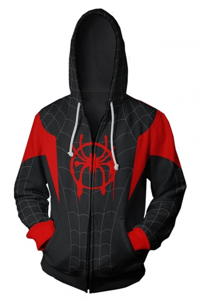 Spider-Man Cosplay Costume Comic Long Sleeve Zip Up Sport Black Drawstring Hoodie