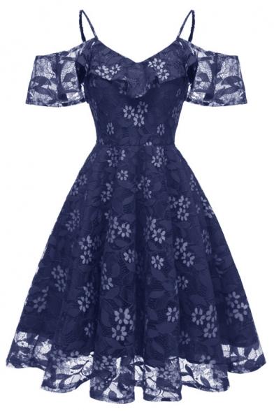 Stylish Crochet Cold Shoulder Spaghetti Straps Midi A-Line Chiffon Dress for Bridesmaid