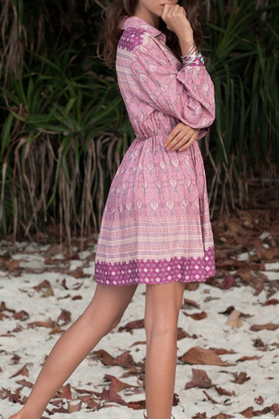 Stylish Lapel Collar Long Sleeve Elastic Waist Rose Red Mini A-Line Dress