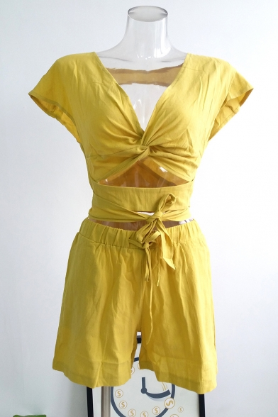 Stylish V-Neck Cropped Tied Top Drawstring Waist Loose Fit Shorts Plain Yellow Set for Women