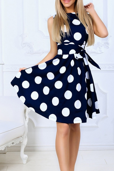 Summer Trendy Polka Dot Printed Round Neck Sleeveless Tied Waist Midi A-Line Dress