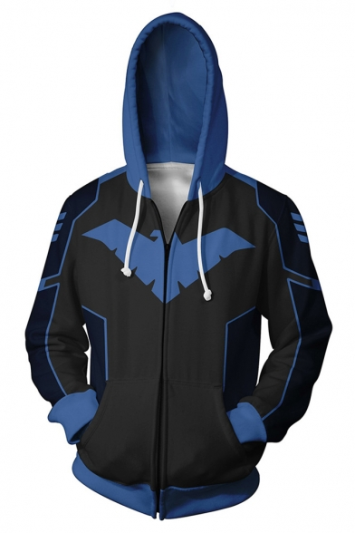 Wing Print Hoodies Full Zipper Comic Hero Robin Costumes Black Drawstring Hoodie