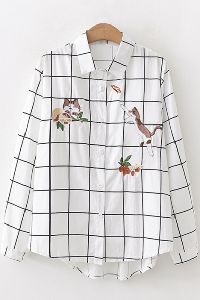 Cartoon Cat Embroidered Lapel Collar Long Sleeve Button Down Plaid White Shirt