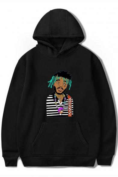 American Rapper Vert Funny Portrait Printed Loose Fit Long Sleeve Souvenir Hoodie